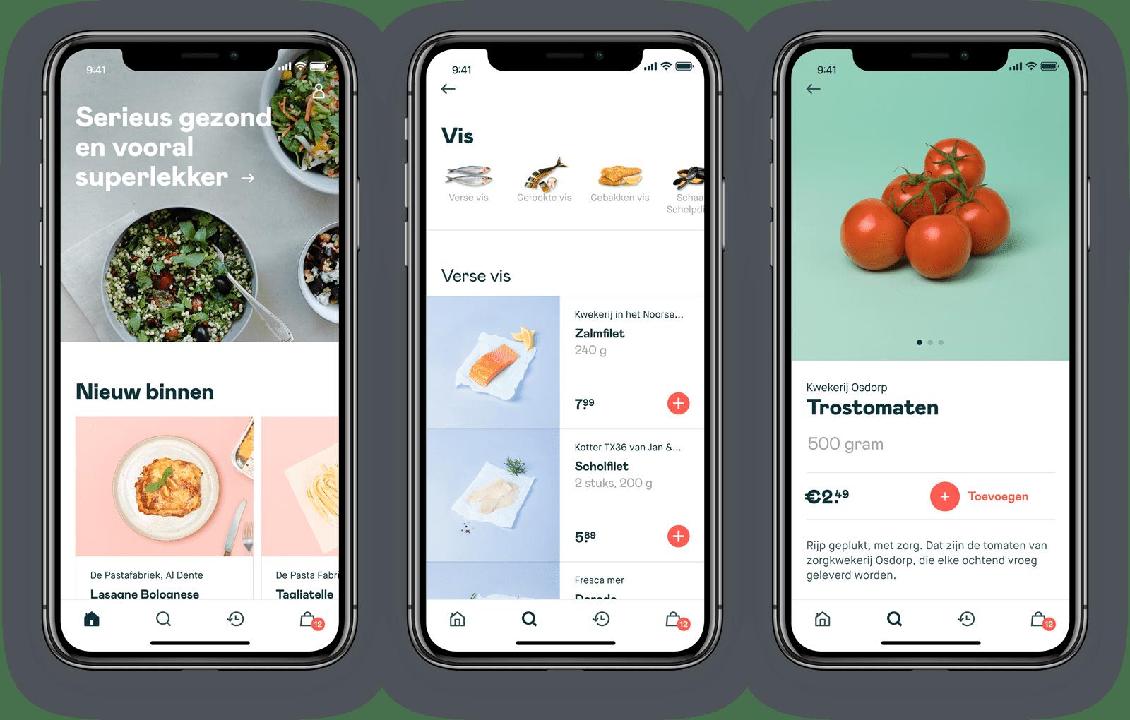 de app van de online verssupermarkt crisp